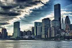 View of the New York City skyline from Roosevelt Island.