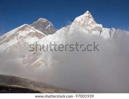 View of the Nuptse and Mt. Everest from Kala Patthar - Mt. Everest region, Nepal