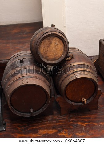 view of the oak barrels of wine