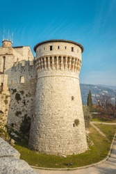 View of the Observation tower from the lower tier of the castle of Brescia city. Lombardy. The Falcon of Italy, one of the largest fortified complexes with 75,000 square metres enclosed within walls