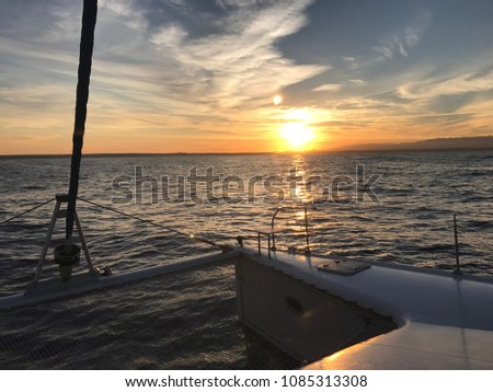 view of the ocean (sea) from the yacht and boat at sunset