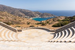 View of the Odyseas Elytis, amphitheater. Open ancient greek style theater with view the sea. Ios Island, Greece.