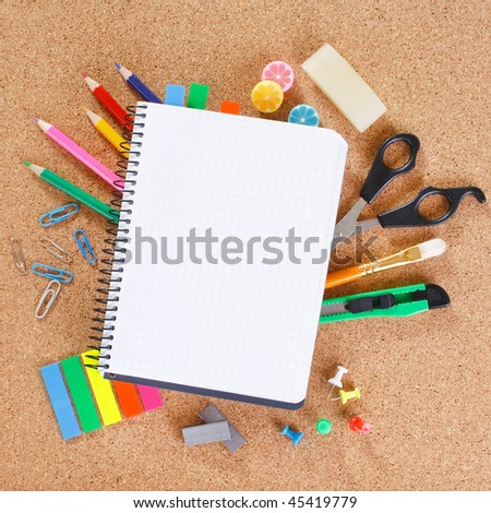 view of the office tools on cork board