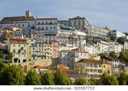 View of the old city of Coimbra, Portugal. Top building is the famous university.