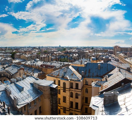 View of the old city under a blue sky on a sunny clear day (St. Petersburg, Russia)