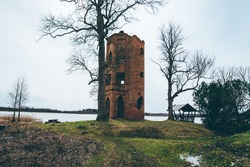 View of the old destroyed watch tower . High quality photo