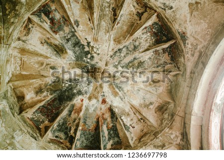 View of the old mural in the Orthodox Church Stok fotoğraf ©