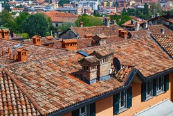 View of the old redroof of the historical buildings in the Bergamo in northern Italy. Bergamo is a city in the Lombardy region.