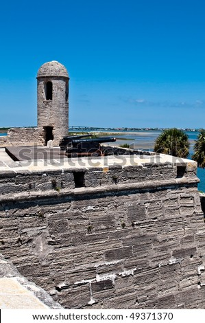 View of the old San Marcos Castle in St. Augustine Florida, a National Monument. - stock photo