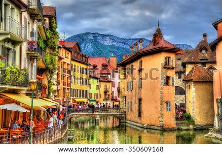 View of the old town of Annecy - France Stockfoto ©
