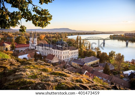 View of the old town of Esztergom. Hungary. Estergom.