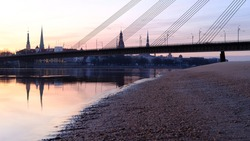 View of the old town of Riga with cable-stayed bridge from Kipsala