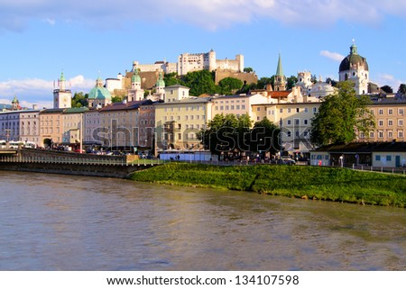 View of the old town of Salzburg, Austria at sunset - stock photo