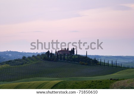 View of the old villa in Tuscany, Italy