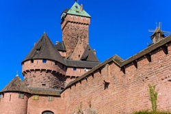 View of the outer walls of the Haut-Koenigsbourg castle (Château du Haut-Kœnigsbourg).