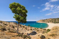 View of the Pachia Ammos beach on the south coast of the Greek island of Samothrace in the North Aegean