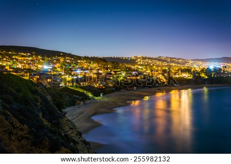 View of the Pacific Ocean and Laguna Beach at night, from Crescent Bay Point Park, in Laguna Beach, California.