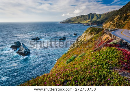 View of the Pacific Ocean and Pacific Coast Highway, in Big Sur, California.