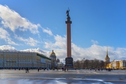 View of the Palace Square and the Alexander Column in St. Petersburg (Russia) on a sunny day in early spring. The city center is rich in beautiful buildings, cathedrals of ancient architecture