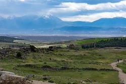View of the Pamukkale lowland, Turkey