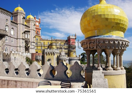 View of the Pena Palace in Sintra National Park, Portugal