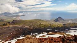 View of the peninsula of snaefellsnes near Arnarstapi from snaefellsnes volcano, Iceland