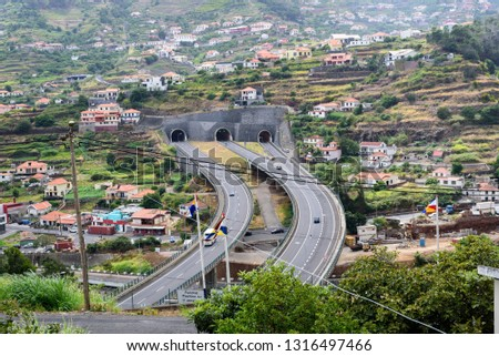 View of the picturesque mountain view from the village of Madeira (Portugal) with highways, bridges, highways and tunnels. #1316497466
