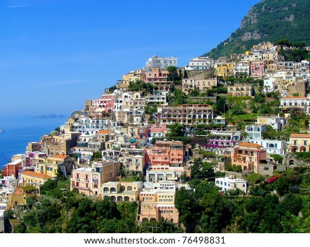 View of the picturesque town of Positano on Italy's Amalfi Coast