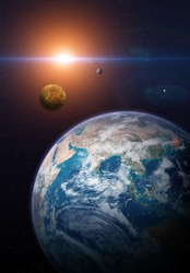 View of the planet Earth from space. Solar system planets: Earth, Venus, Mercury. Terrestrial planets. Sci-fi background. Elements of this image furnished by NASA.