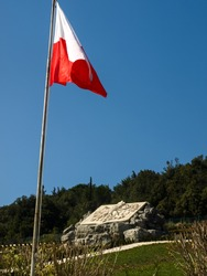 View of the Polish Flag at Monte Cassino in Italy