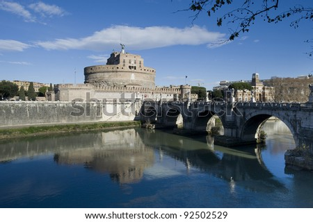 View of the Ponte Sant'Angelo e Castel Sant'Angelo, Rome, Italy