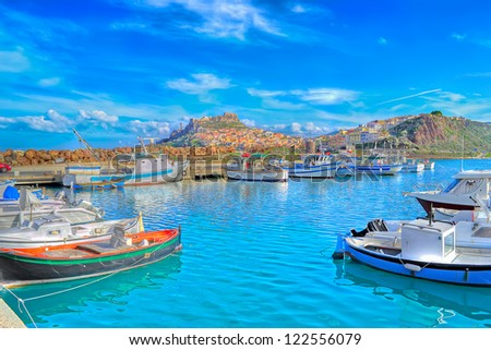 view of the port of Castelsardo in hdr toning - stock photo