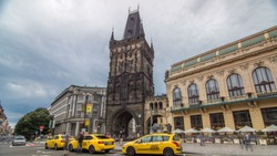 View of The Powder Tower timelapse hyperlapse and the Municipal House at the Republic Square in Prague. The Old Town is famous destination in Prague.