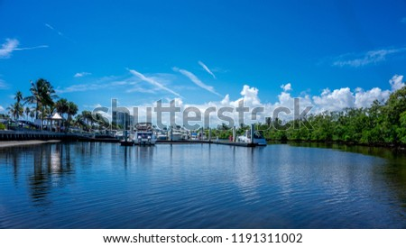 view of the power boats tender yachts in the canals of the marina in Dania Beach, Hollywood, Miami. Florida Zdjęcia stock ©