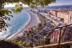 View of the Promenade des Anglais from the Château de Nice