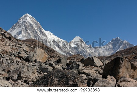 View of the Pumo Ri from the Khumbu glacier - Mt. Everest region, Nepal - stock photo