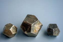 View of the pyrite group. Pyrite is a very common mineral found in a wide variety of geological formations from sedimentary deposits to hydrothermal veins and as a constituent of metamorphic rocks.