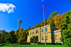 View of the Queen Victoria Park next to Niagara Falls in Canada on a sunny day in autumn.