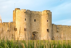 View of the ramparts and one of the fortified gates of the medieval town of Aigues-Mortes through the tall grass (Occitanie, France)