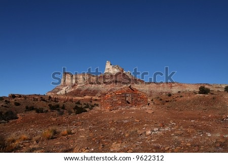 View of the red rock formations in San Rafell Swell with blue skys