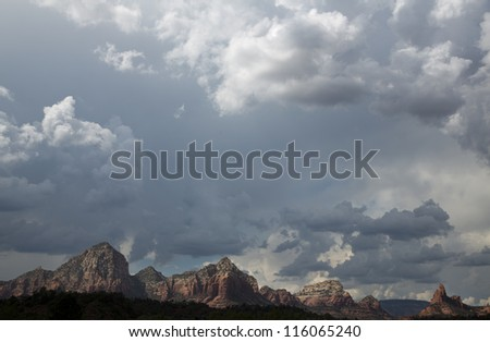 View of The Red Rocks of Sedona with pronounced cloudscape
