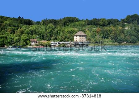 View of the Rhein river waterfalls (Rheinfall) in northern Switzerland