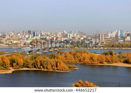 stock photo view of the right bank novosibirsk russia 446652217 - Каталог — Фотообои «Новосибирск»
