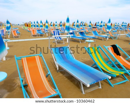 View of the Rimini beach. Italy