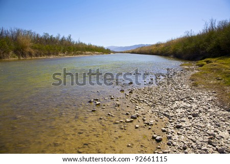 View of the Rio Grande River in Big Bend National Park. International Border between United States and Mexico.