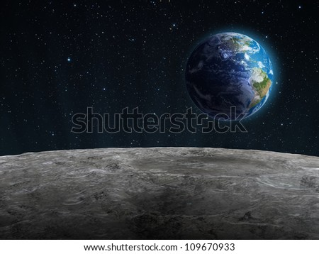 View of the rising Earth seen from the Moon's surface