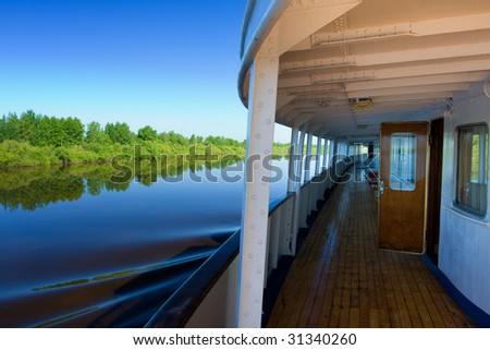 View of the river from the deck of a motor ship