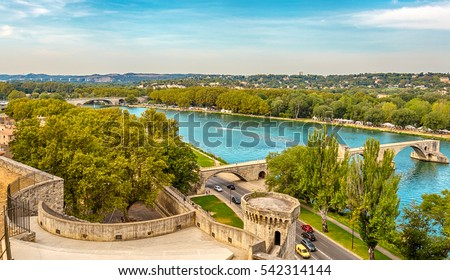 View of the River Rhone and the Avignon Bridge (Pont Saint-Benezet), Avignon, Provence, France.