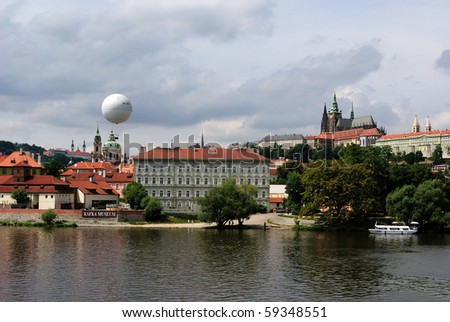 View of the River Vltava in Prague, Czech Republic.
