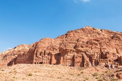 View of the rock with the royal tombs of the ancient city of Petra, Jordan